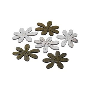 Sada 6 ks dřevěných přízdob ve tvaru květin Ego Dekor Flowers