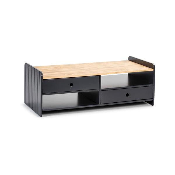 Szary stolik z blatem z drewna sosnowego Marckeric Monte