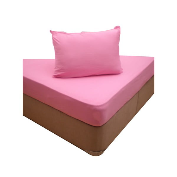 Elastické prostěradlo se dvěma povlaky na polštář Pink, 160x200 cm