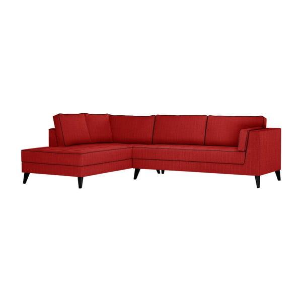 Červená pohovka s čiernymi detailmi Stella Cadente Maison Atalaia, ľavý roh