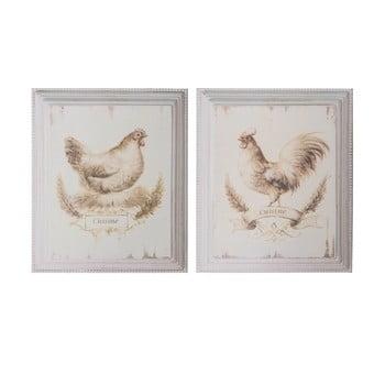 Set 2 tablouri Antic Line Cock Hen