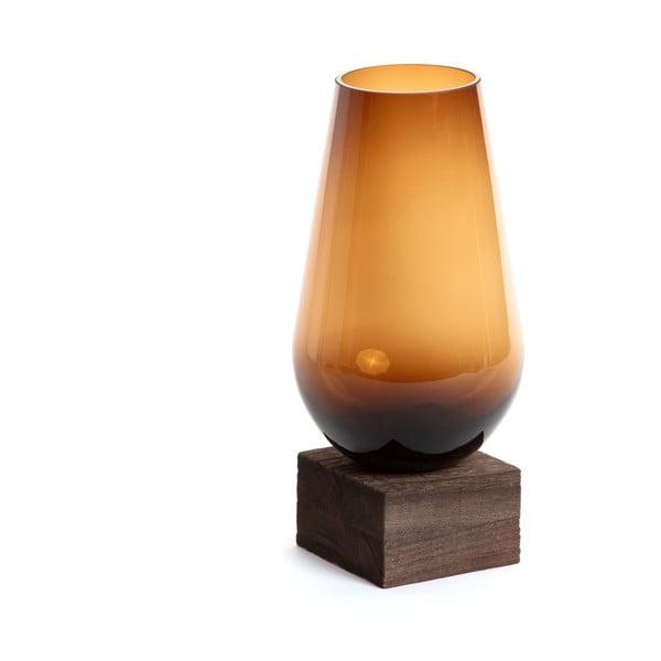 Vază din sticlă La Forma Salong, adâncime 30 cm, maro