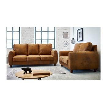Set canapele cu 2 locuri și 3 locuri Bobochic Paris Felicita, maro de la Bobochic Paris