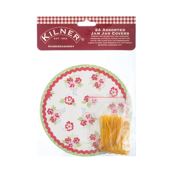 24 papírových krytů na víčka s gumičkami Kilner