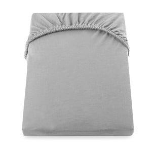 Ocelově šedé prostěradlo DecoKing Amber Collection, 140-160 x 200 cm