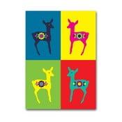 Plakát Srnky Warhol červená, malý
