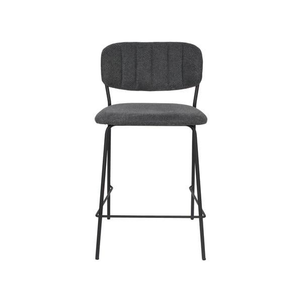 Sada 2 tmavě šedých barových židlí s černými nohami White Label Jolien, výška 89 cm