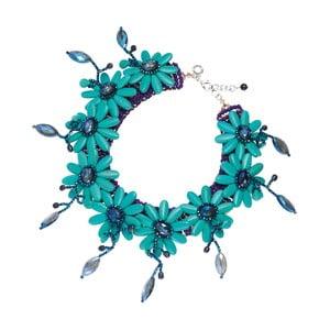 Tyrkysový náhrdelník s achátem a krystaly s motivy květin Ottaviani