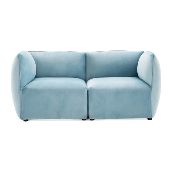 Canapea modulară cu 2 locuri Vivonita Velvet Cube, albastru deschis