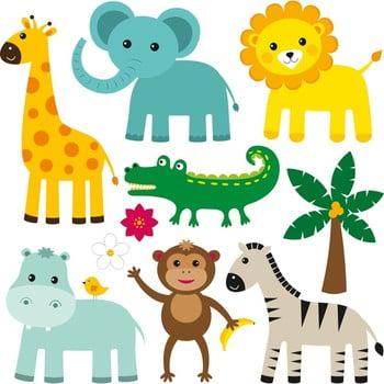Set 10 autocolante de perete Cute Animals