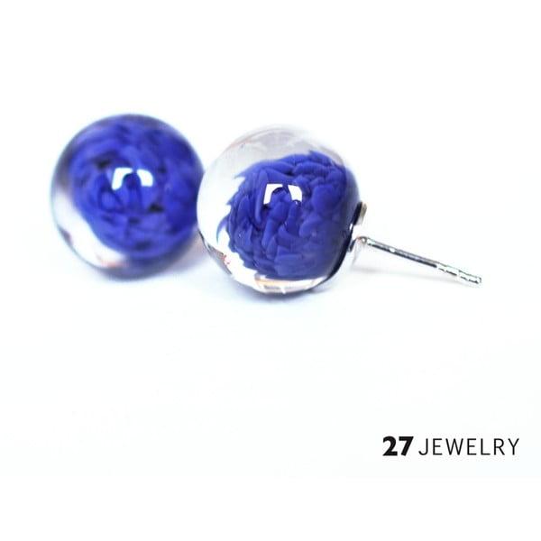 Tmavě modré náušnice ze skla Enamor