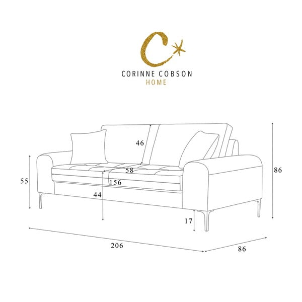 Canapea cu 3 locuri Corinne Cobson Dillinger, gri - maro