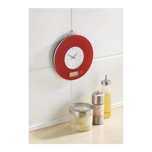Červená kuchyňská váha s hodinami Wenko Clock
