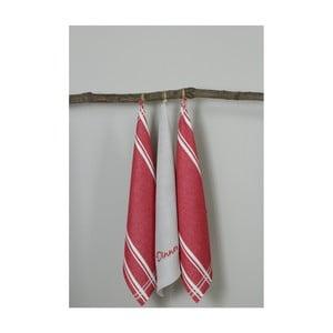 Sada 3 červeno-bílých kuchyňských utěrek My Home Plus Dinner, 50 x 70 cm