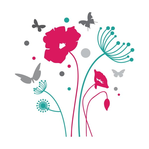 Samolepka na stěnu Butterflies and Flowers