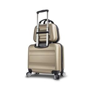Sada zlatého cestovního kufru na kolečkách s USB portem a příručního kufříku My Valice LASSO MU & Pilot