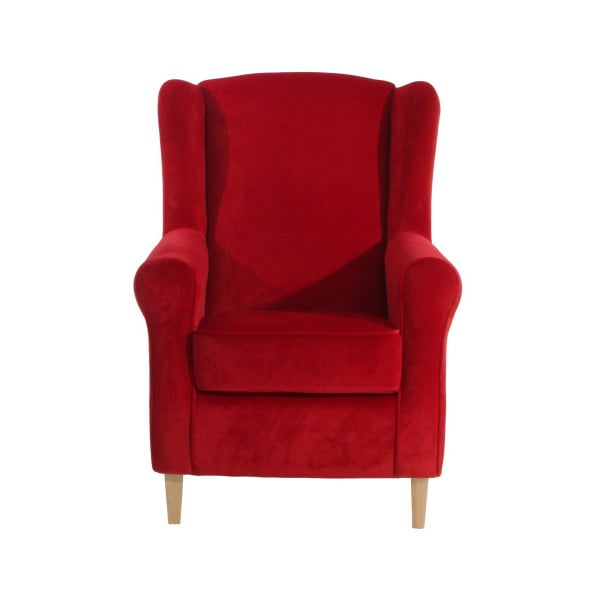 Červené křeslo ušák Max Winzer Lorris Velour Red