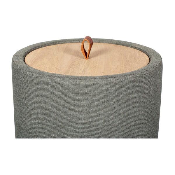 Odkládací stolek v zelenošedé barvě se snímatelnou deskou z dubového dřeva Askala Ibisco, ⌀36cm