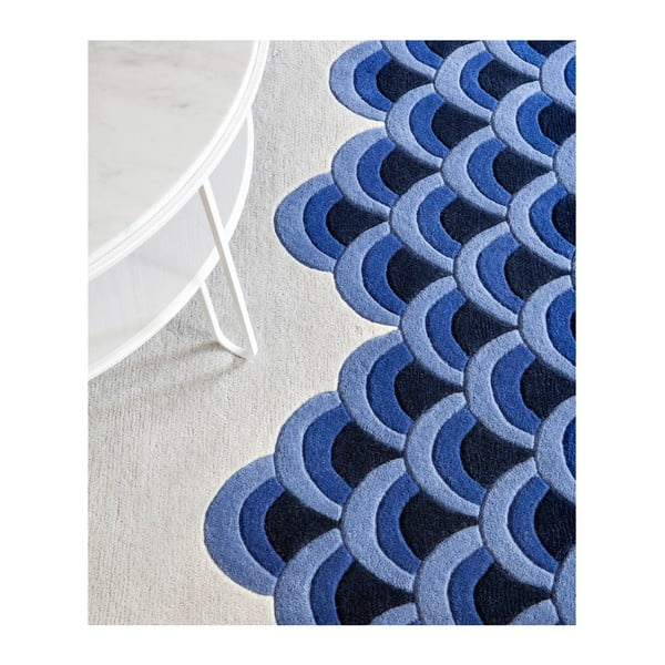 Modro-bílý koberec z čisté vlny HARTÔ Marin, 150 x 229 cm