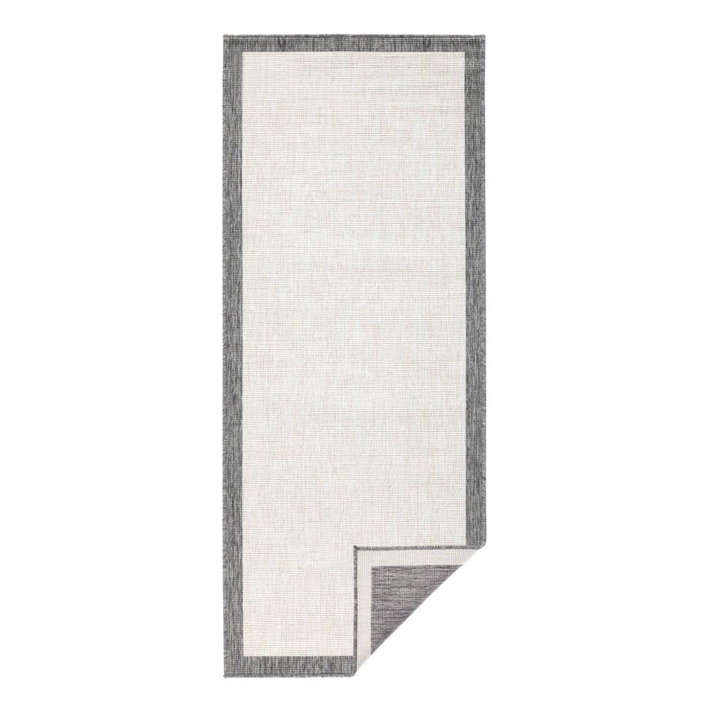 Světle šedý oboustranný běhoun vhodný i na ven bougari Panama, 80x350 cm
