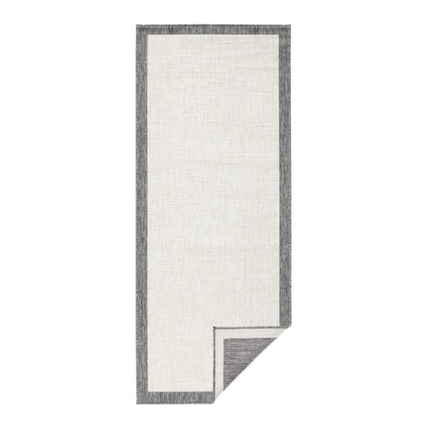 Sivo-krémový obojstranný behúň vhodný aj do exteriéru Bougari Panama, 80 × 250 cm