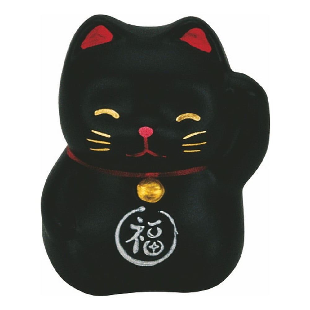 Černá keramická dekorace ve tvaru kočky TokyoDesignStudio Lucky Cat, výška 5,2cm