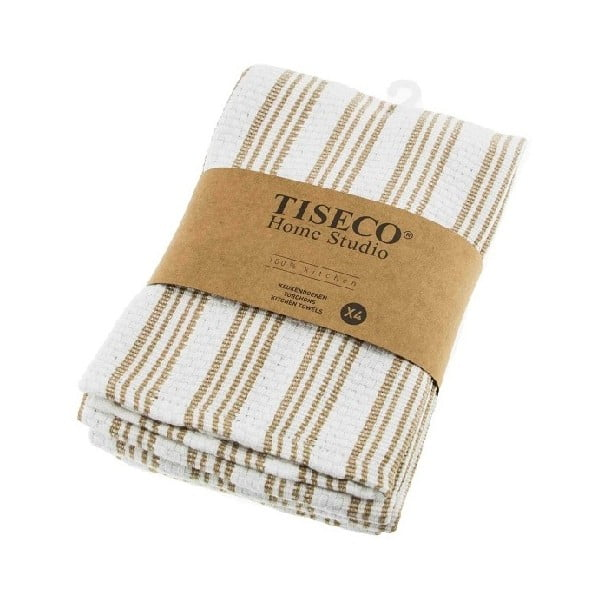 Sada 4 béžových bavlněných utěrek Tiseco Home Studio, 50 x 70 cm