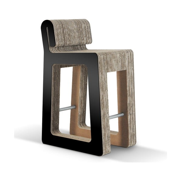 Barová kartonová židle Hook Stool Black