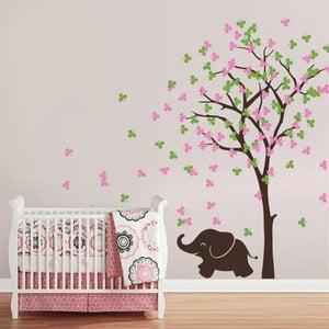 Samolepka na stěnu Slůně a strom, růžovo-zelená - 2 archy, 70x50 cm