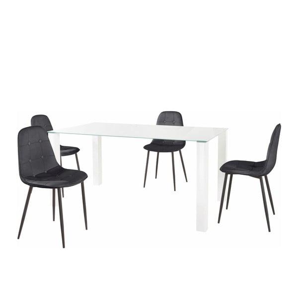 Sada jídelního stolu a 4 černých židlí Støraa Dante, délka stolu 160cm