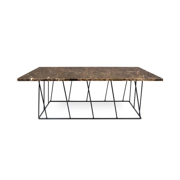 Hnědý mramorový konferenční stolek s černými nohami TemaHome Helix, 120 cm