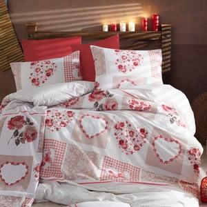 Lenjerie de pat cu cearșaf Love Time, 200 x 220 cm