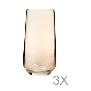Sada 3 vysokých sklenic ze žlutého skla s okrajem zlaté barvy Mezzo Paris, 250 ml