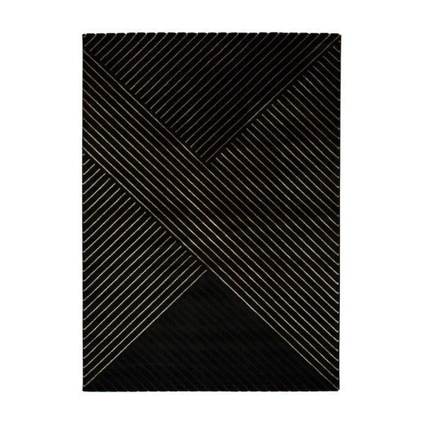 Černý koberec Universal Gold Stripes, 160 x 230 cm