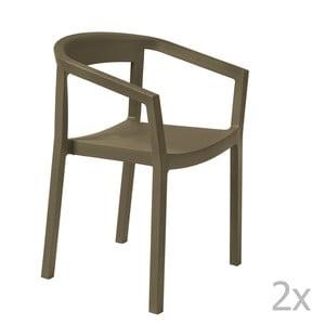 Sada 2 hnědých zahradních židlí s područkami Resol Peach