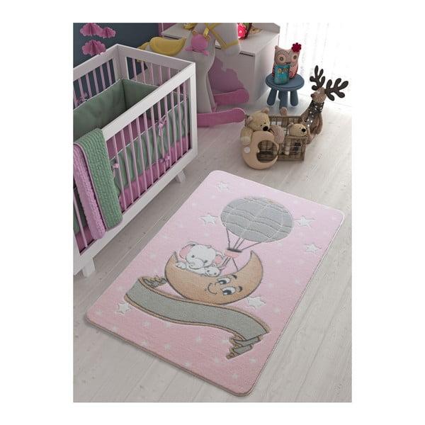 Dětský světle růžový koberec Confetti Moonlight, 133x190cm