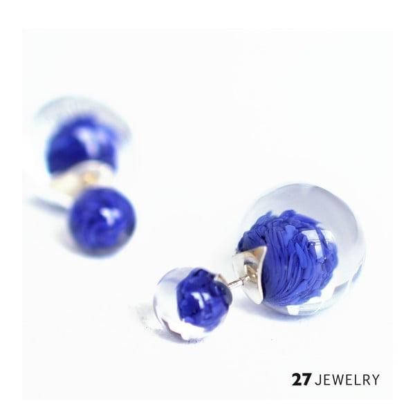 Tmavě modré oboustranné naušnice ze skla Enamor