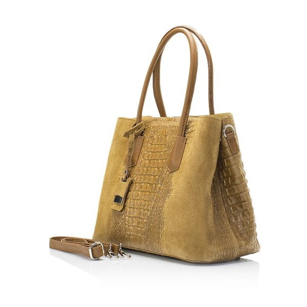 Světle hnědá kožená kabelka Markese Crocco Suede