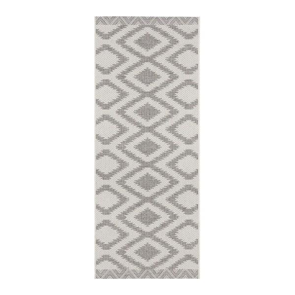 Šedo-krémový venkovní koberec Bougari Isle, 70x200cm