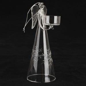Skleněný svícen s andělem Dakls, výška 22 cm