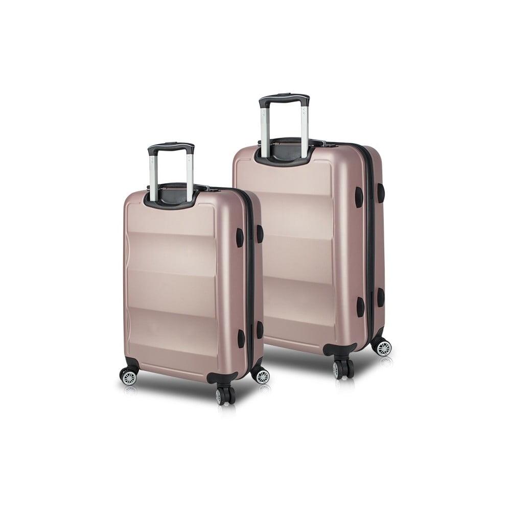 Sada 2 růžových cestovních kufrů na kolečkách s USB porty My Valice LASSO Cabin & Medium