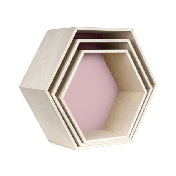 Sada 3 nástěnných poliček Hexagon, růžová
