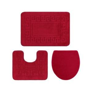 Set 3 covoare de baie și înveliș capac toaletă Confetti Ethnic Oyuklu, roșu