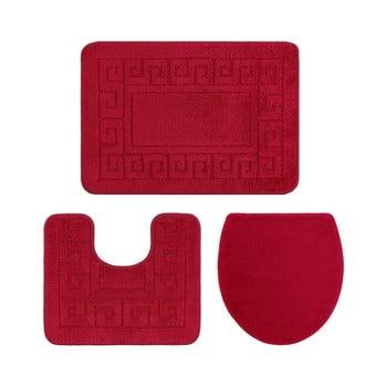 Set 3 covoare de baie și înveliș capac toaletă Confetti Ethnic Oyuklu, roșu de la Confetti