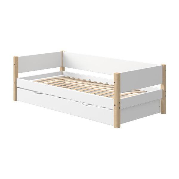 Bílá dětská postel s přírodními nohami a výsuvným lůžkem Flexa White Single, 90x200cm