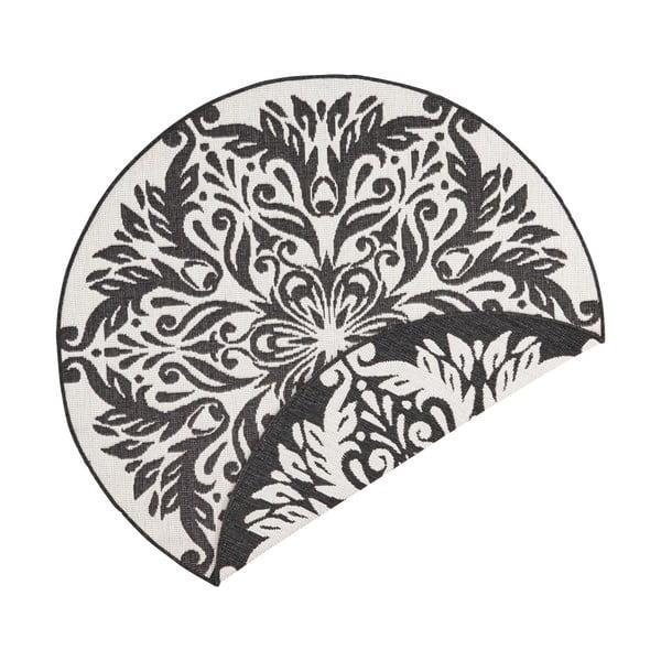 Covor adecvat pentru exterior Bougari Madrid, ⌀ 140 cm, negru-crem