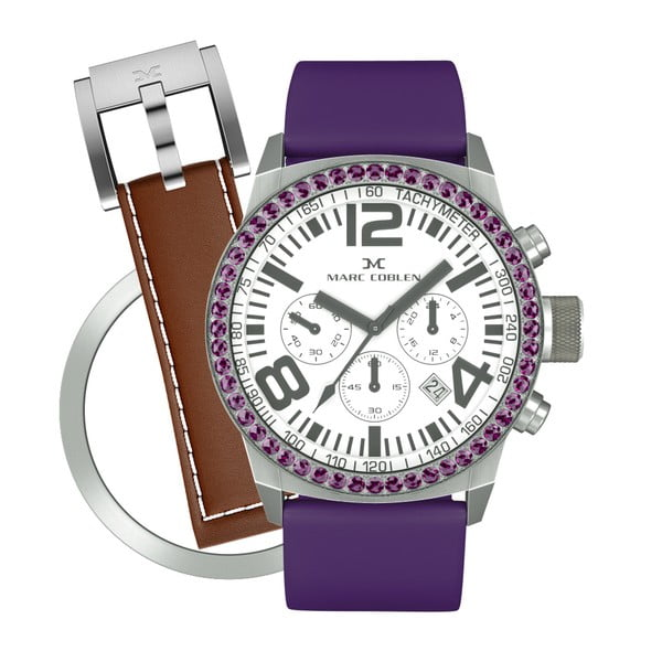 Dámské hodinky Marc Coblen s páskem a kroužkem navíc P4