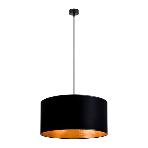 Čierne stropné svietidlo s vnútrajškom v zlatej farbe Sotto Luce Mika, ∅50 cm