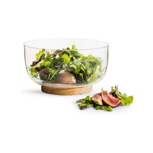 Skleněná mísa na salát s dubovou základnou Sagaform Nature, ⌀ 18 cm