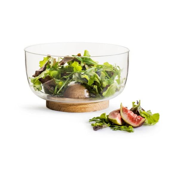 Bol din sticlă pentru salată, cu suport din stejar Sagaform Nature, ⌀ 18 cm